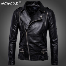 AOWOFS motorcycle leather jacket men Europe and America design Multi-zipper men leather jackets coats jaqueta de couro masculina(China)