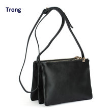 Vintage three layer bag women's summer handbag accordion small triple zipper crossbody clutch messenger bag organizer purse(China)