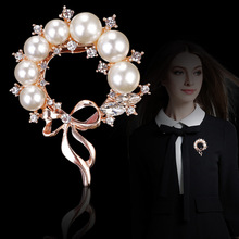 New Arrival 3PCS Acrylic pearl Rhinestone Paved Ribbon Round Circle Flower Garment Brooch Pins Women Fashion Garment Jewelry