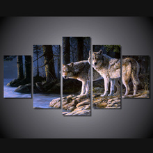 5 Panels Canvas art framed artwork two wolves canvas Prints Animal picture wall decor Painting for Kitchen poster Free shipping