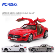 Hot metal die cast model car 1 37 pagani pull back racer car gull wing doors die cast red white gray toys kids mini car