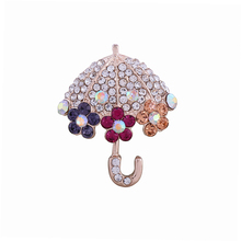 Bling Rhinestone Crystal Umbrella Brooch Decorative Garment Accessories Wedding Bridal Brooch Pin(China)