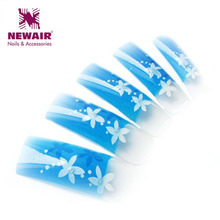 2016 New Design Charm Flowers&pearl Crystal Design Airbrush Nail Art tips Elegant 3d False Nails Tips Professional Tips(China)