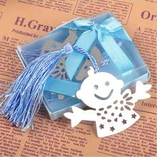 50pcs Blue & Pink Snowman Children Bookmark Bridal Baby Shower Giveaway Kids Party Souvenirs Wedding Favors and Gifts For Guest(China)