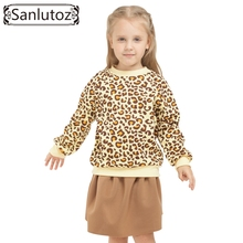 Sanlutoz Children Girls Clothing Set Winter 2016 Leopard Print Kids Clothes Brand Sport Suit Set Tracksuit for Girls Toddler 2pc