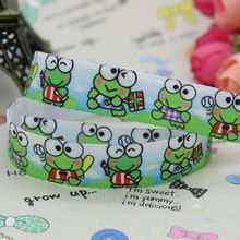 5/8 inch Free shipping Fold Over Elastic FOE frog printed ribbon headband  hair band  diy decoration wholesale OEM B131