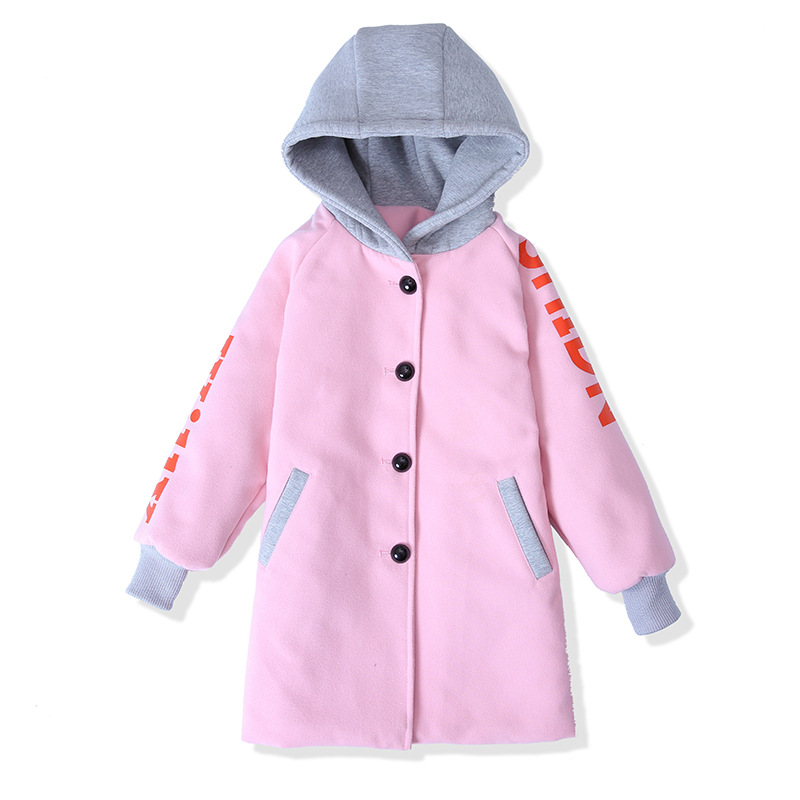 2017 All-match Girls Wool Winter Coats Kids Overcoat Children Jacket Fashion Assorted Colors Hooded Thicken Warm Clothes<br>