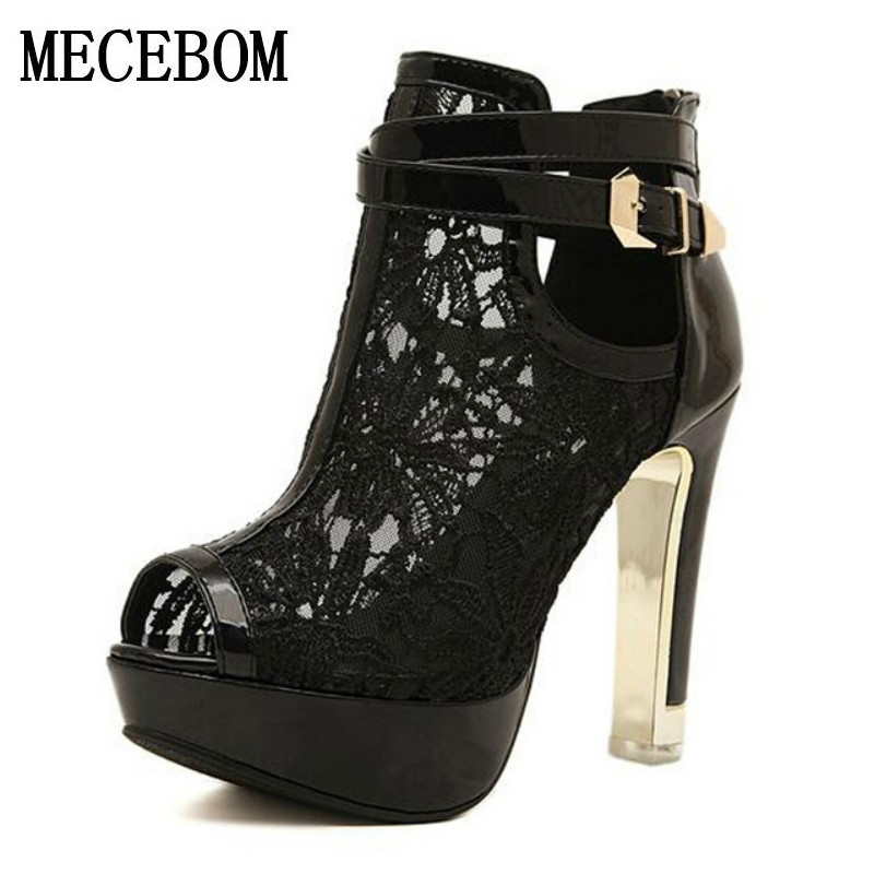2017 Fashion Sexy High Heel Sandals Elegant Lace Pierced Women Sandals White Black Platform Summer Women Shoes Size 35-42 82819W<br>