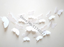 12pcs PVC 3d Butterfly Home decor solid white color small cute Wall stickers Decoration Butterflies Decals(China)