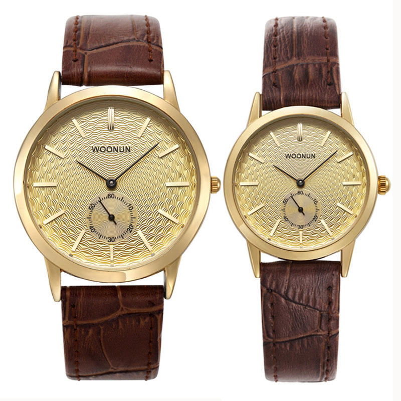 WOONUN Top Luxury Brand Couple Watches For Lovers Genuine Leather Strap Quartz-Watch Fashion Men Women Pair Watches Best Gift<br>