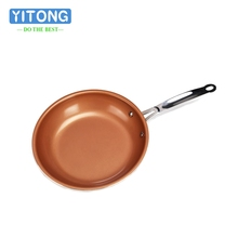 2017 New High Quality Copper Color Aluminum Pan Gas&Induction Cooker Frying Pan Ceramic Nonstick Skillet Without Pot Cover(China)