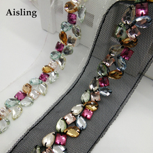 New Arrival Resin sparkling Fake Diamond DIY Beading Lace Trims Handmade Clothing Accessories Collar /Hats/ Bag Decoration D147(China)