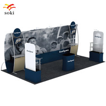 20ft*7.5ft High Quality U Shape Tension Fabric Display Exhibition Booth System Design+Fabric Display Rack +Square Counter Table(China)