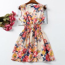oioninos Women Sexy Chiffon Dress Sleeveless Sundress Beach Floral Tank Mini Dresses Vestido