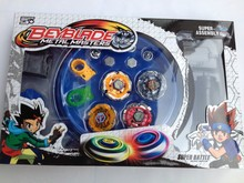 Free shipping beyblade set(4 beyblades+2 launchers+4 tips+2 bolts +1grip+1arena)beyblade with arena as children gift(China)
