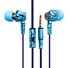 Original Cell phones Earphones Ice Cracks Design Earpiece with Mic For iPhone Samsung Cheapest Earbuds Cellphone MP3 MP4(China)