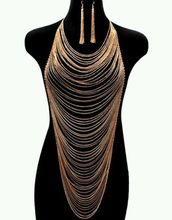 Sexy Fashion Club Party Dress BODY Multi Gold Full METAL Chains Belt Earring Set