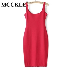 MCCKLE Woman fashion Brand Design Sleeveless American Apparel Summer Style dresses Tango Vestidos 7 Colour Simple Casual Simple