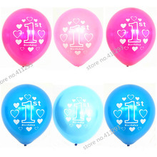 20pcs/lot  First Birthday balloon number ballons  1st Birthday printed balloons  pink blue  pearl ballon for birhday