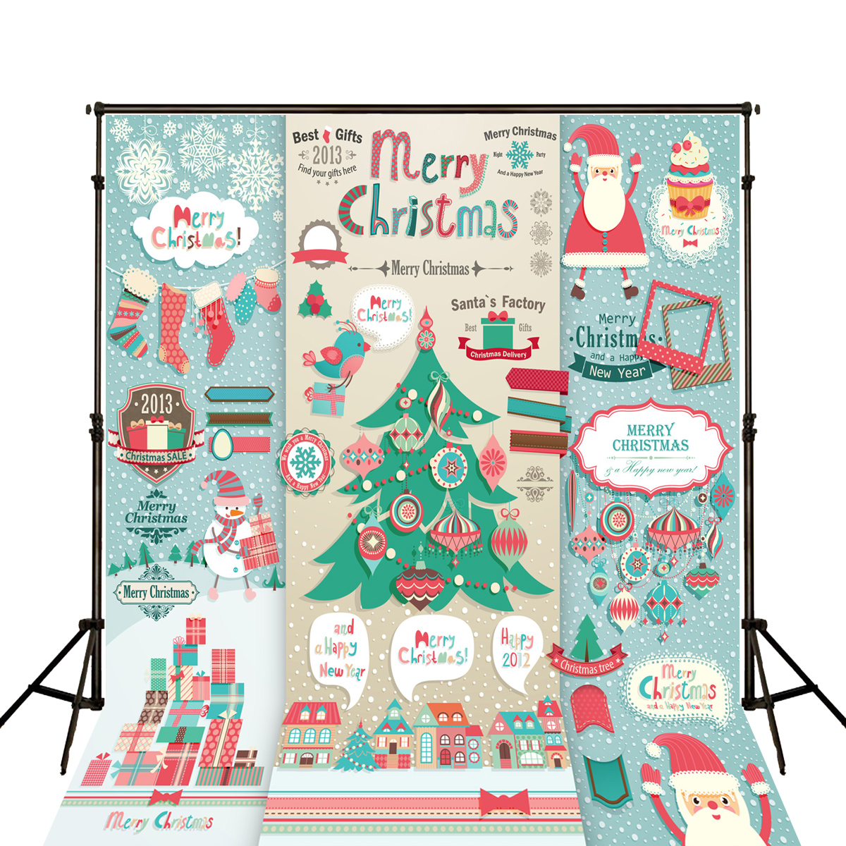 New Design Cartoon Merry Christmas blackboard Name Date photocall kate photography photo booth background photo chalk backdrop<br><br>Aliexpress