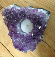 AMETHYST CRYSTAL CLUSTER TEA LIGHT CANDLE HOLDER GEODE HEALING NEW AGE PAGAN(China)