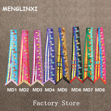 MENGLINXI 2017 Letter Horse Twilly Luxury Brand Small Print Silk Scarf For Women Striped Headband Handle Bag Ribbon Scarves
