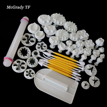 Mac 46Pcs/Set Fondant Gift Decorating Sugarcraft Plunger Cutter Tools Mold Cookies Full Mold DIY Molds Sugarcraft Cake Cutters
