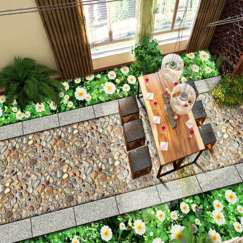 Free Shipping flower board road 3D floor painting non-slip thickened lifelike office floor bathroom art high-quality wallpaper<br>