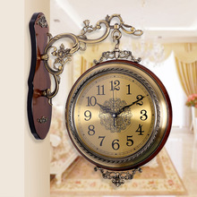 Double European living large American solid wood metal watch two quartz wall clock FREE SHIPPING