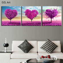 Unframed 3 sets Canvas Painting Purple Loving Heart Trees Art Cheap Picture Home Decor On Canvas Modern Wall Prints Artworks