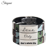 Camouflage Silicon Men Wrap Bracelet Personalized Engraved Name ID Stainless Steel Rubber Belt Bangle Men Wrist Customized Logo(China)