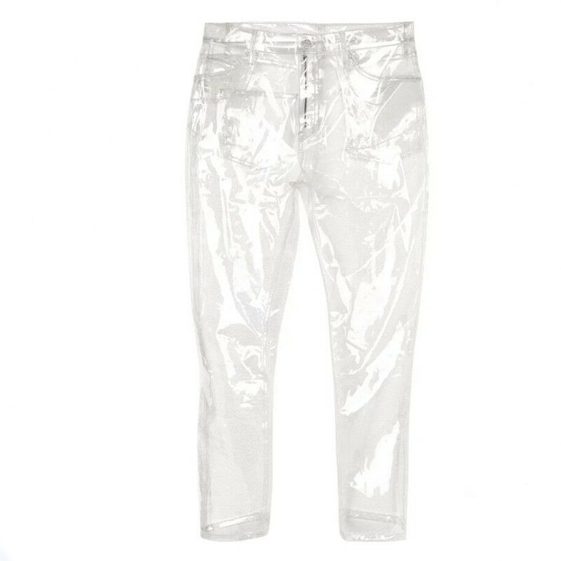 2019 New Women Transparency  Wide Leg High Waist Pant Waterproof PVC Plastic Skinny Pants Loose Long Individuality Trousers