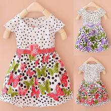 UNIKIDS Factory Price! Summer Baby Girls Kids Short Sleeve Dress Polka Dots Butterfly Princess Dresses