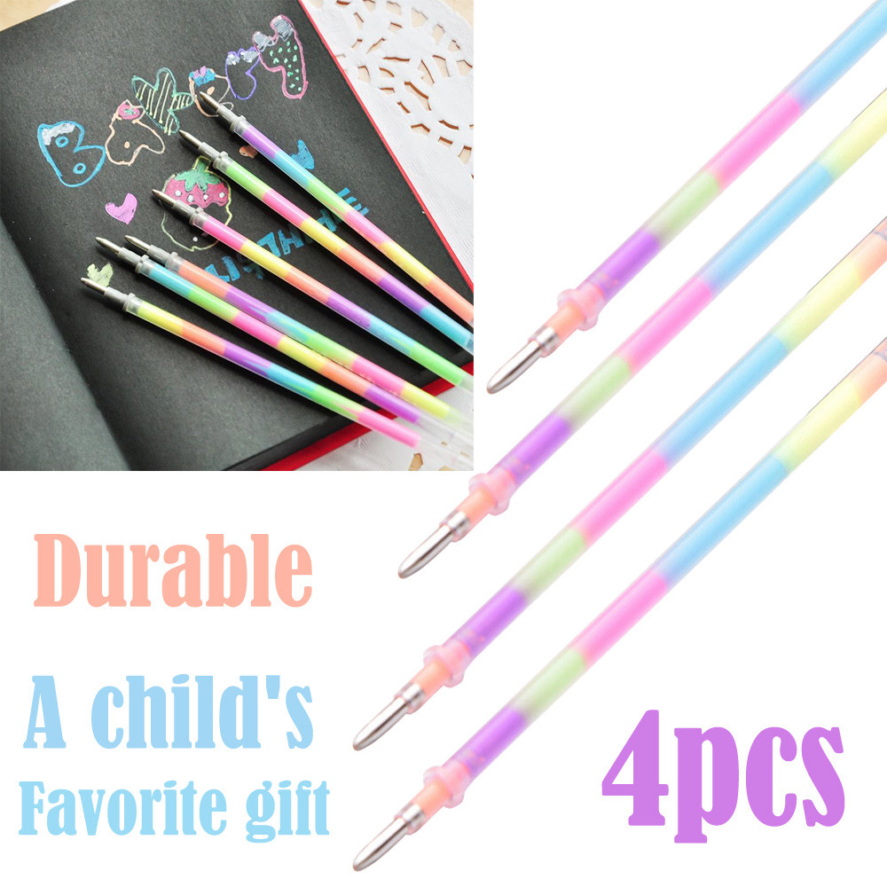 Office Stationery 4PCS  Markers Pen Gel PensRefills Rollerball Pastel Neon Glitter Pen Drawing Colors D329(China)