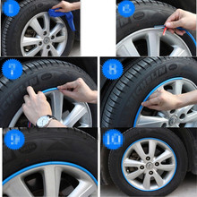 Hot Sale 8M/Roll Car Wheel Hub Tire Sticker for jeep grand cherokee suzuki liana  honda civic 2008 peugeot 3008 Accessories
