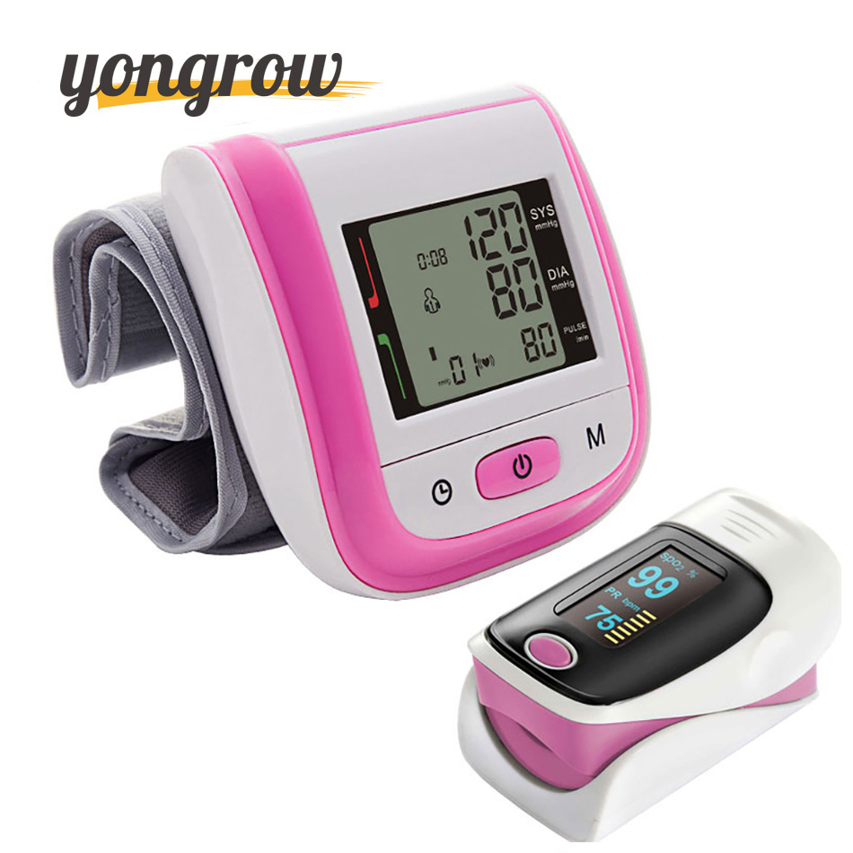 Yongrow Wrist Blood Pressure Monitor Sphygmomanometer Oximetro Finger Pulse Oximeter De Pulso Dedo SpO2 Saturation Meter Pulse<br>