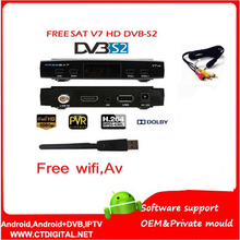 freesat V7 5pcs powervu Youtube free video DVB-S2 1080p ccam newcam set top box FREESAT V7 Satellite Receiver(China)
