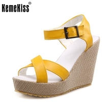 KemeKiss Women Wedges Sandals Ankle Strap Flatform Solid Shoes Women Open Toe Daily Fashion Sandal Slip On Footwear Size 34-39(China)
