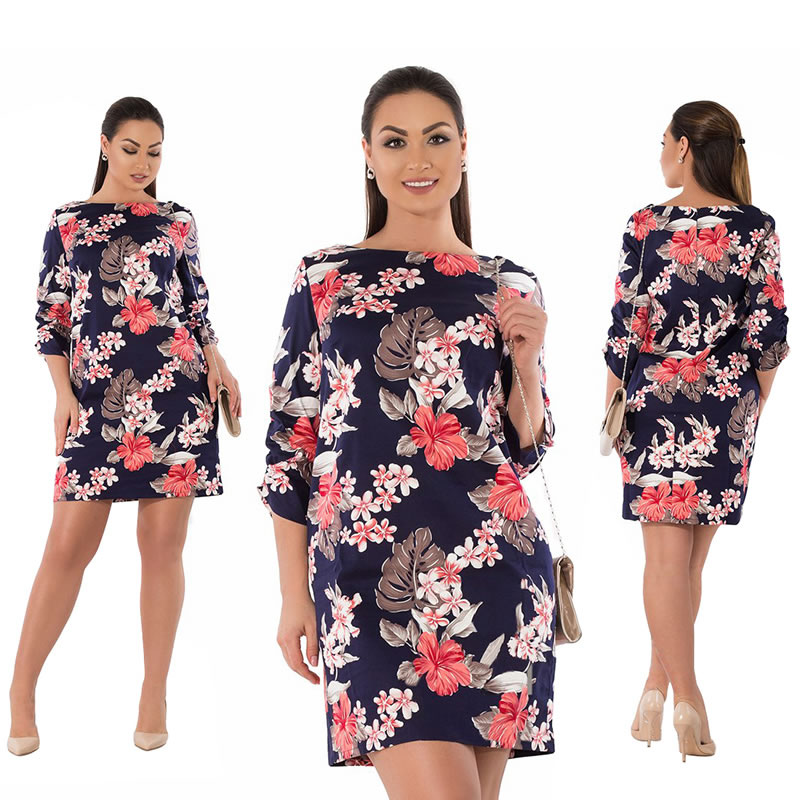 2018 Summer Dress Plus Size Women Clothing Elegant Floral Printed Dress Big Size Office Work Dress 5XL 6XL Party Dress Vestidos 12
