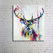 Nordic Colorful Forest Deer Horse Lion A4 Canvas Painting Art Oil Print Poster Kids Room Wildlife Animal Frame Home Deco HX-027(China)
