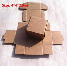 100pcs/lot-4*4*2.5cm Kraft Paper Party Box Smart Little Sized Craft Gift Fastener Ear Ring Storage Candy Package Aircraft Boxes