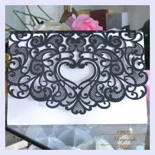 MR056 Romantic Delicate Design Insert Style  Wedding Laser Cut Invitation Card