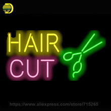 Neon Sign Hair Cut Scissors Handmade Glass Tube Free Design Neon Bulbs Neon Light Sign Advertise Lamp Bright Store Display 24x15