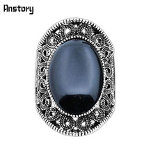 Hollow Flower Oval Stone Rings For Women Vintage Antique Silver Plated Fashion Jewelry TR410(China)
