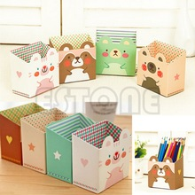 Free shipping Cute Cat Cartoon Paper Stationery Makeup Cosmetic Desk Organizer Storage Box DIY