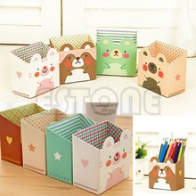 Free shipping Cute Cat Cartoon Paper Stationery Makeup Cosmetic Desk Organizer Storage Box DIY(China)
