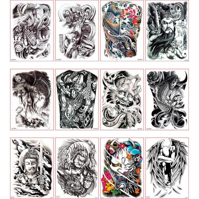 48*35cm Big size buddha ghost totem tattoo stickers men women waterproof full back body temporary tattoos RP2 1