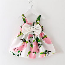 2017 Hot Selling Cheap Baby Girl Clothes Baby Girl Clothes Lemon Printed Infant Outfit Sleeveless Princess Gallus Dress 2 colors(China)