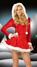 Free shipping Adult red  Hooded Santa Costume Fever Ladies Sexy Christmas Fancy Dress Outfit