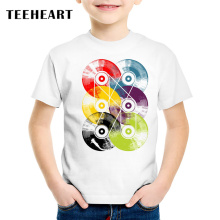 18M-10T Colourful Record Print T shirt For Boys/girls Summer Abstract t-shirt for Children Baby Girls Clothing TA255(China)